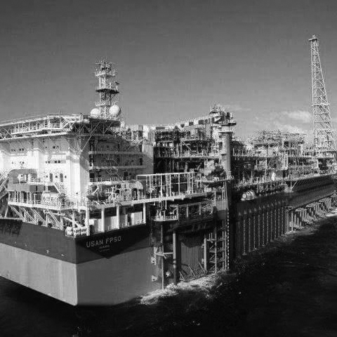 A floating production storage and offloading vessel (FPSO) off the coast of South Africa